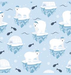 Christmas seamless pattern with polar bear on ice vector