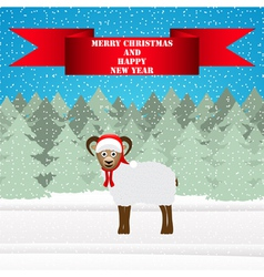Christmas sheep in the winter forest vector