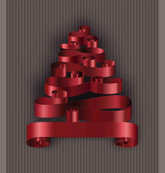 christmas tree made of tape ribbons decoration vector image