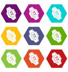 cogwheel clothes button icons set 9 vector image