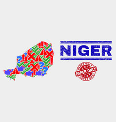 Collage niger map sign mosaic and grunge paper vector