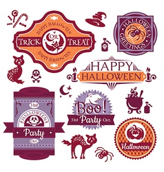 Collection of Halloween labels and signs vector image