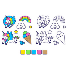 coloring with cute picture vector image