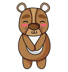 Cute and shy bear wild animal vector
