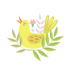 cute singing yellow bird symbol of spring vector image