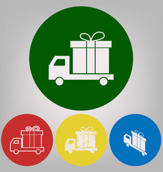 delivery gift sign 4 white styles of icon vector image