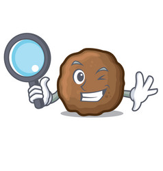 Detective meatball character cartoon style vector