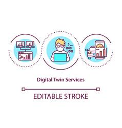 digital twin services concept icon vector image