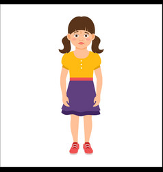 Disappointed little girl in summer dress vector