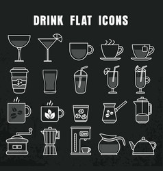 drink icons collection on white and black vector image
