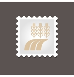 Ears of Wheat Barley Rye on Field stamp Outline vector