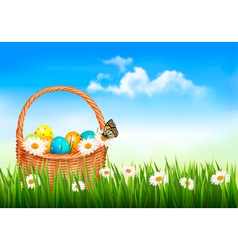 Easter background with Easter eggs in basket and vector image