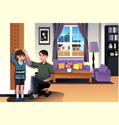 father measuring his son height vector image