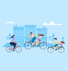 Flat girl riding bike work vector