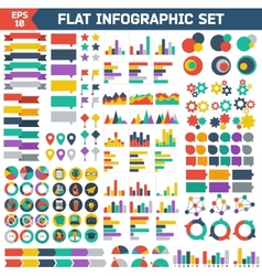 Flat infographic elements set vector