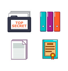 folder icon set cartoon style vector image