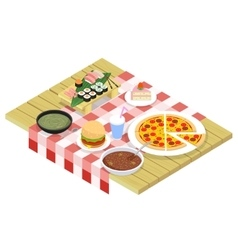 Food isometric icons on table vector image
