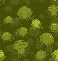 Frog seamless pattern Green Toad in swamp Many vector