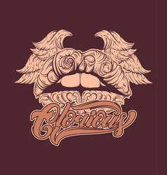 glorious hand drawn of lips with wings with vector image