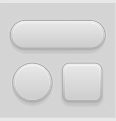gray plastic buttons 3d oval round and square vector image