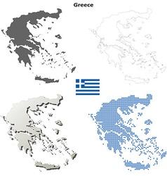 Greece outline map set vector image