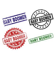 Grunge textured baby boomer stamp seals vector