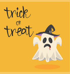 halloween ghost with hat vector image