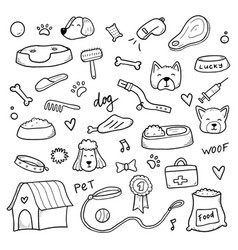 Hand drawn set dog doodle vector