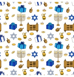 Happy Hanukkah Holiday Seamless Pattern Background vector image