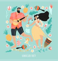 Hawaiian party concept with a couple vector