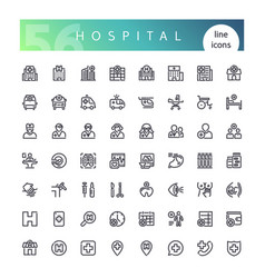 hospital line icons set vector image