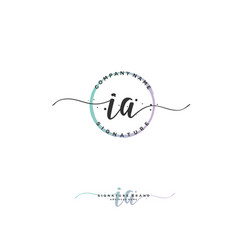 I a initial letter handwriting and signature logo vector