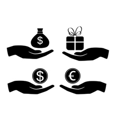 icon money in hand vector image