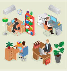 isometric office interiors and creative employees vector image vector image