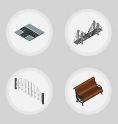 Isometric urban set of sitting barricade vector