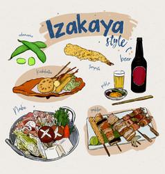Japanese food elements izakaya style hand draw vector
