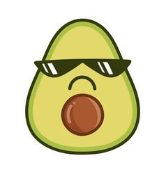 Kawaii bad sunglasses avocado cartoon vector