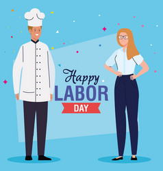 Labor day poster with woman and man different vector