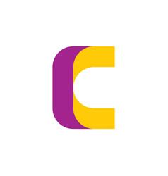 letter c logo yellow purple logotype icon vector image