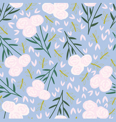 Light grey blue with whimsical pink floral vector