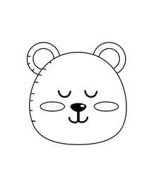 Line teddy bear boy head animal wild vector