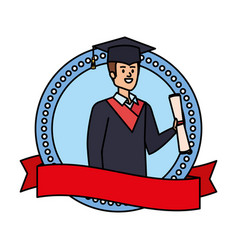 Man student graduated with diploma in emblem vector
