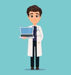 medical doctor in white coat holding modern vector image