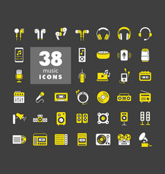 Multimedia devices and symbols glyph icons set vector