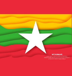 Myanmar flag in official colors in paper cut style vector