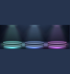 neon podiums glowing in darkness realistic vector image