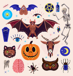 occultism set with magic characters goat pumpkin vector image
