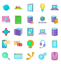 online icons set cartoon style vector image