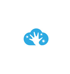 open hand and stars inside cloud for logo vector image