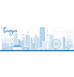 Outline Tianjin Skyline with Blue Buildings vector image